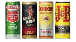 Слабоалкогольные премиксы Diageo - 4 разновидности в банках.