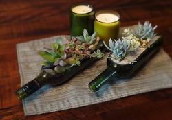 Винная бутылка - горшок для цветов
